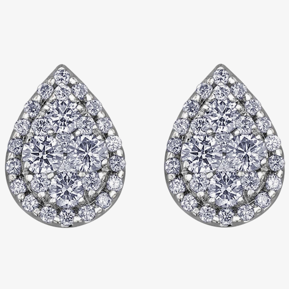 9ct White Gold 0.50ct Diamond Pavé Pear Cluster Stud Earrings E3778W/50-9 from Gold Impression