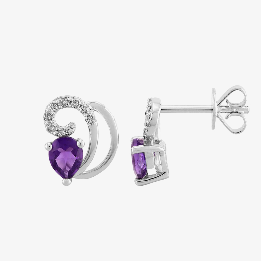 9ct White Gold Pear-cut Amethyst and Diamond Swirl Stud Earrings THE9520E-AA from Gold Impression