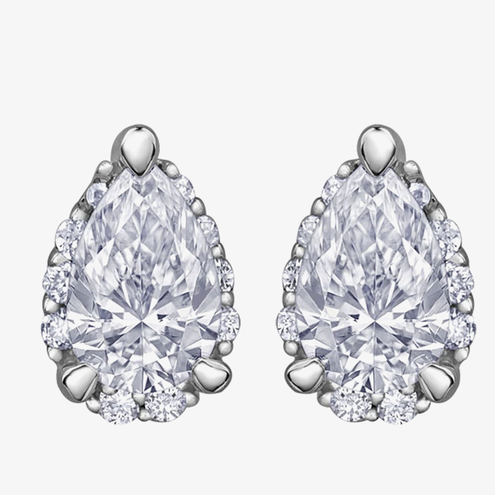 9ct White Gold 0.45ct Pear-cut Diamond Stud Earrings E3981W/45-9W from Gold Impression