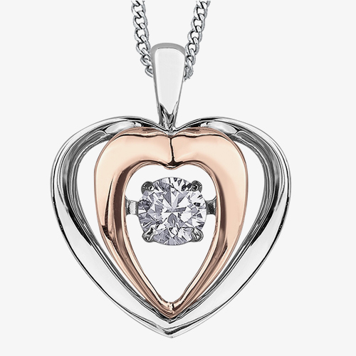 9ct Two Tone Gold 0.15ct Diamond Pulse Open Heart Pendant P3117WR/15-10 from Gold Impression