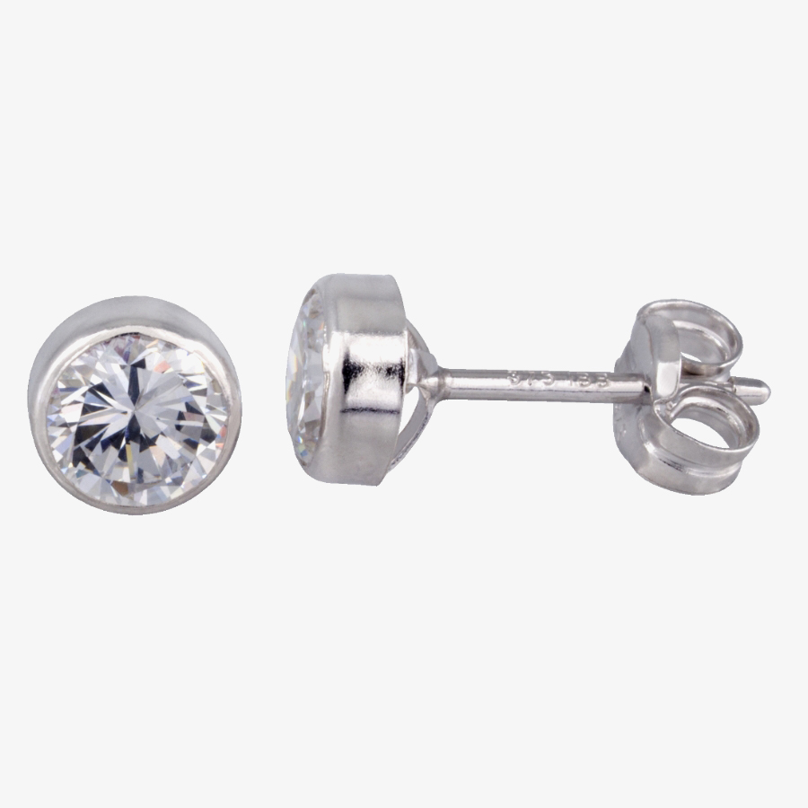 9ct White Gold Round Cubic Zirconia 5mm Stud Earrings 5.57.3423 from Gold Impression