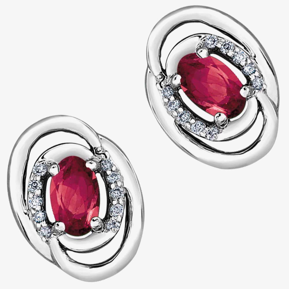 9ct White Gold Oval Ruby and Diamond Swirl Stud Earrings E3417W-10 RUBY from Gold Impression