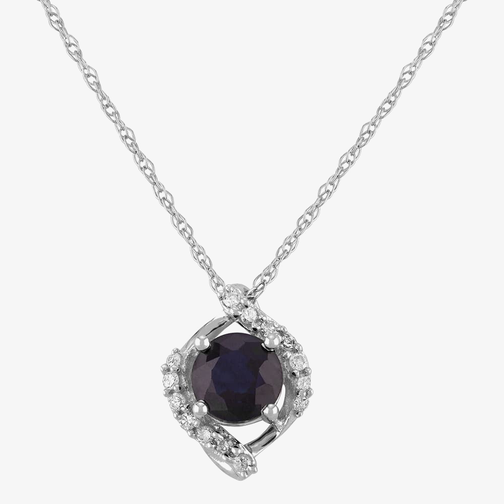 9ct White Gold Sapphire and Diamond Cluster Pendant OJS0022P-BS from Gold Impression