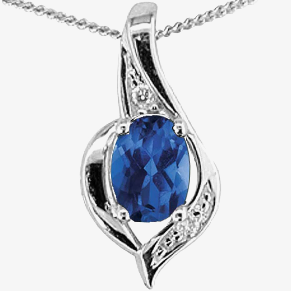 9ct White Gold Sapphire and Diamond Oval Pendant P1860W/9-10 SAPH from Gold Impression