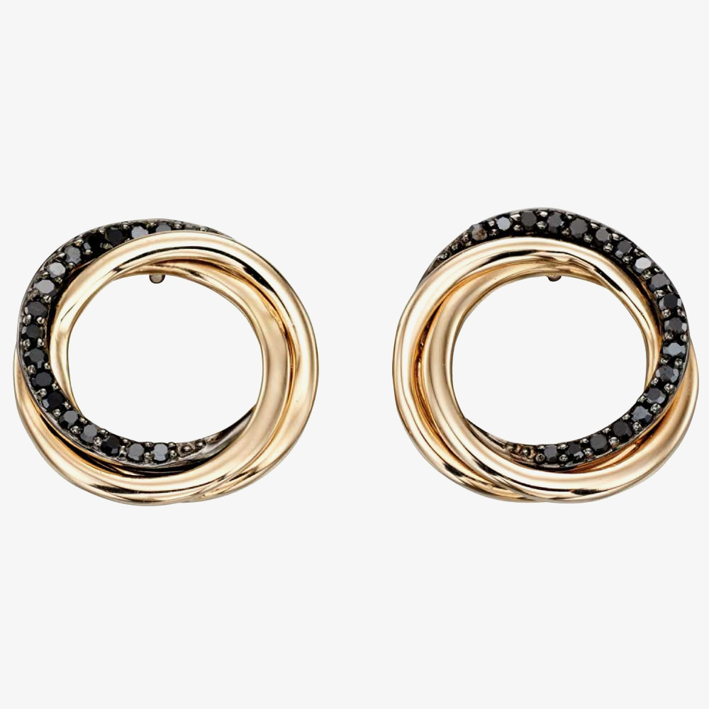 9ct Yellow Gold Black Diamond Circle Earrings GE2148 from Gold Impression