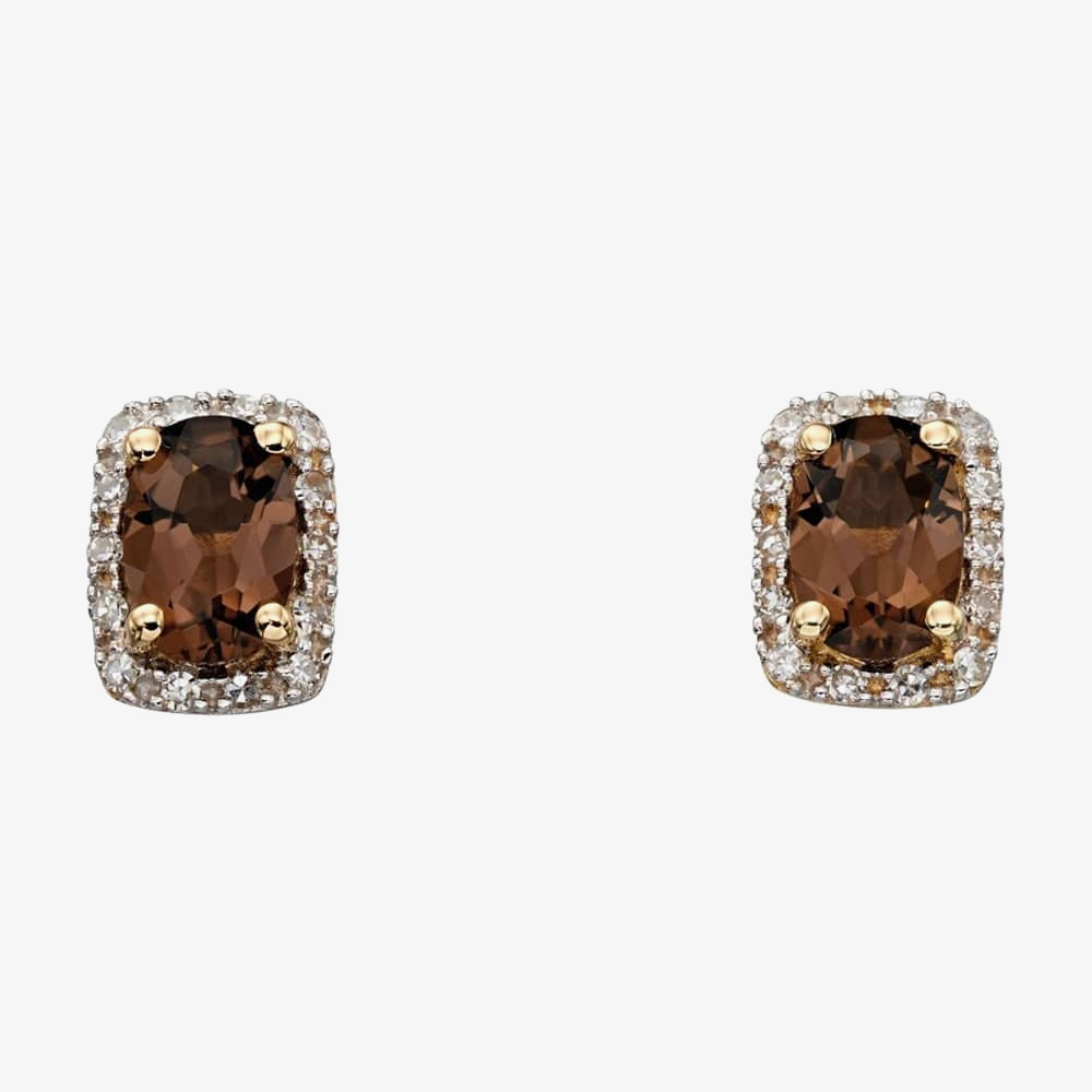 9ct Yellow Gold Diamond Smokey Quartz Earrings GE2169Y from Gold Impression