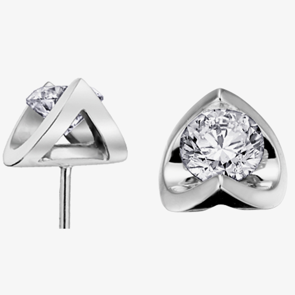 9ct White Gold 0.40ct Tension-set Diamond Stud Earrings E2038W/40-18 from Gold Impression