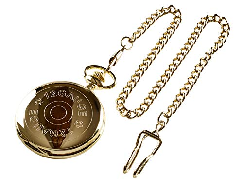 12g Shotgun Cartridge Pocket Watch 24k Gold Plated Gift in Wooden Case 12 Gauge Gun Club Sports Shooting Luxury Gifts Hunting from TLV