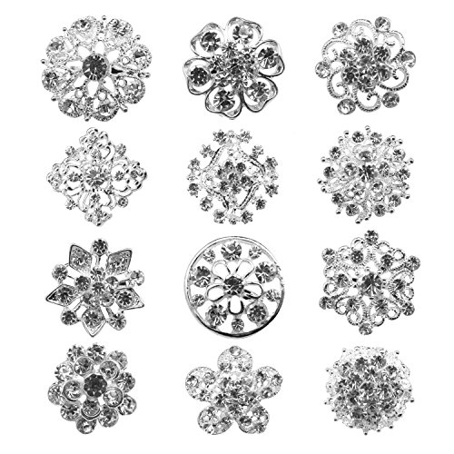 TOOKY 12pcs Mix Set Crystal Button Brooches Scarves Buckle Floriated Brooch Pin Rhinestone Corsage Bouquet Kit Wholesale Lot (silver) from TOOKY