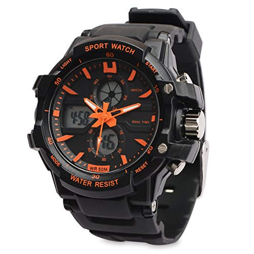 TOPCABIN 30m WaterProof Wristwatch Digital-analog Students Watch Digital Children's Sport Watch with Alarm Stopwatch Chronograph Electronic Sport Watch for Boys Teenagers Junior Kids Children(Orange+Black) from TOPCABIN
