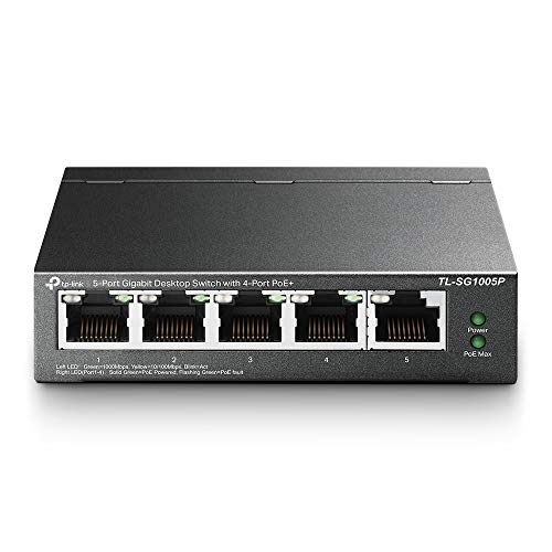 TP-Link TL-SG1005P 5-Port Gigabit PoE Ethernet Switch (4 PoE Ports, 56 Watt Budget, No Configuration Required) from TP-Link