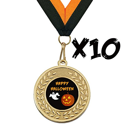 "Pack of 10 x Black Happy Halloween Medals With Orange & Black Ribbon 45mm (1.5"") from TPM Trading"