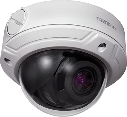 TRENDnet Indoor/Outdoor 4 MP, Varifocal PoE IR Dome Network Camera, Auto-Focus, Optical Zoom, Manual Pan/Tilt, Night Visions Up to 98 ft, IP66 Rated Housing, ONVIF, IPv6, TV-IP345PI from TRENDnet