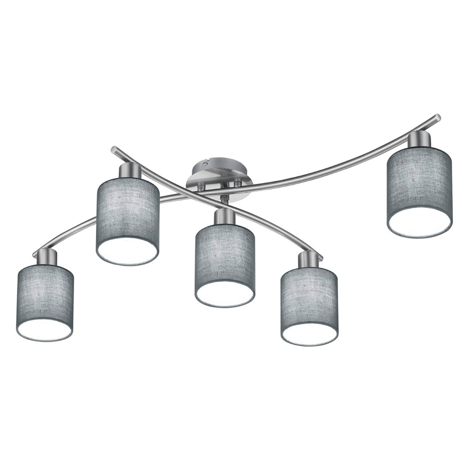 Ceiling light Garda Five-bulb with grey lampshades from Trio Lighting