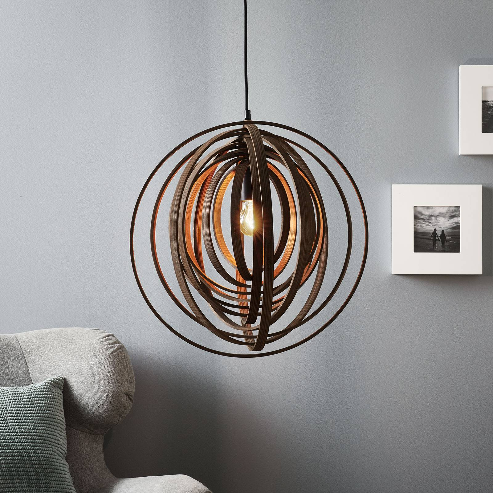 Unusual Boolan hanging light with brown lampshade from Trio Lighting