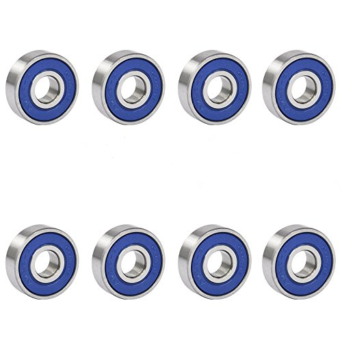 TRIXES 8x Bearings 608RS Frictionless Abec 9 Skateboard Roller Bearing for Skate Boards or Fidget Spinners from TRIXES