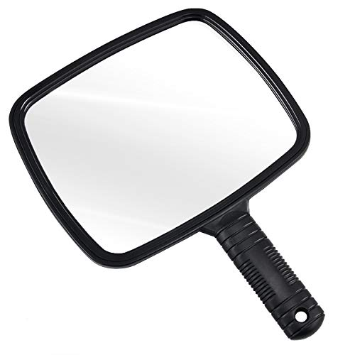 TRIXES Hand Mirror with Handle in Black for Hairdressers Salons and Barbers from TRIXES