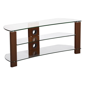 TTAP L640 1000 3W Vision Curve 1000mm TV Stand in Walnut with Clear Gl from TTAP
