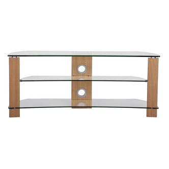 TTAP L640 1200 3O Vision Curve 1200mm TV Stand in Light Oak Clear Glas from TTAP