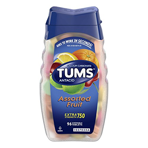 TUMS Antacid Chewable Tablets, Extra Strength for Heartburn Relief, Assorted Fruit, 96 count from TUMS
