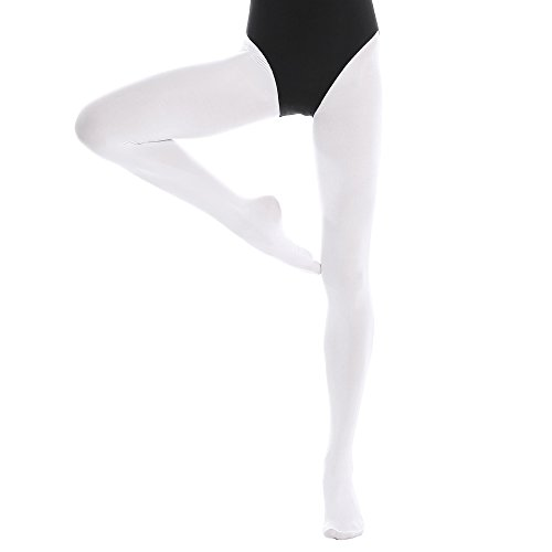 Bezioner Footed Ballet Dance Tights for Kids Girls Women 1 pair White L from Bezioner
