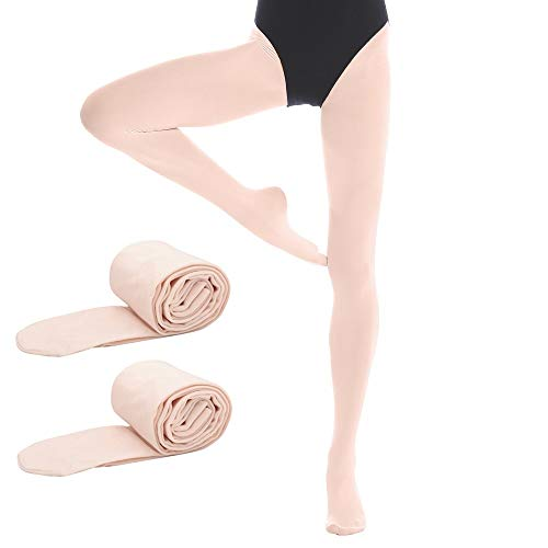 Bezioner Footed Ballet Dance Tights for Kids Girls Women 2 pairs Pink M from Bezioner