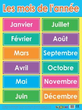 Les mois de l'année (Months of the year) French Language Educational Poster. Extra Large Size. Heavyweight from TZ
