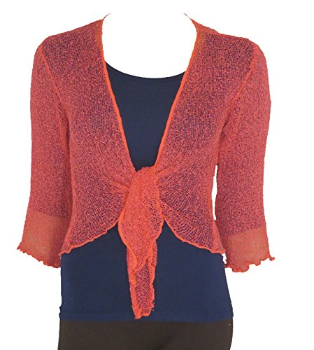 LADIES PLAIN KNITTED CROPPED TIE UP BOLERO SHRUG TOP - MASSIVE RANGE OF COLOURS FIT ALL SIZES (Coral) from Taboo fashion clothing