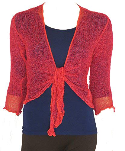 LADIES PLAIN KNITTED CROPPED TIE UP BOLERO SHRUG TOP - MASSIVE RANGE OF COLOURS FIT ALL SIZES (Dark Coral) from Taboo fashion clothing