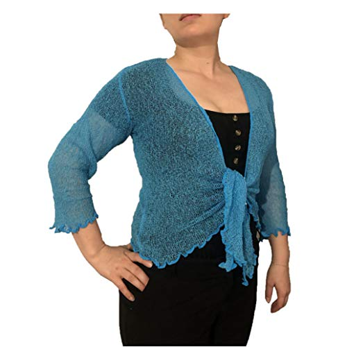 LADIES PLAIN KNITTED CROPPED TIE UP BOLERO SHRUG TOP - MASSIVE RANGE OF COLOURS FIT ALL SIZES (Dark Turqoise) from Taboo fashion clothing