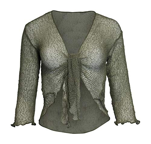 LADIES PLAIN KNITTED CROPPED TIE UP BOLERO SHRUG TOP - MASSIVE RANGE OF COLOURS FIT ALL SIZES (Fern) from Taboo fashion clothing