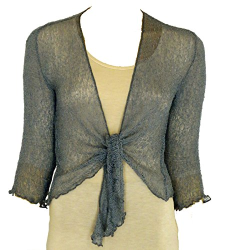LADIES PLAIN KNITTED CROPPED TIE UP BOLERO SHRUG TOP - MASSIVE RANGE OF COLOURS FIT ALL SIZES (Gun Metal Grey) from Taboo fashion clothing