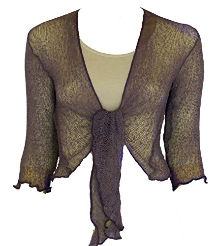 LADIES PLAIN KNITTED CROPPED TIE UP BOLERO SHRUG TOP - MASSIVE RANGE OF COLOURS FIT ALL SIZES (Lavender) from Taboo fashion clothing