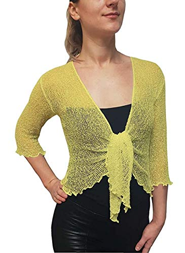 LADIES PLAIN KNITTED CROPPED TIE UP BOLERO SHRUG TOP - MASSIVE RANGE OF COLOURS FIT ALL SIZES (Lemon) from Taboo fashion clothing
