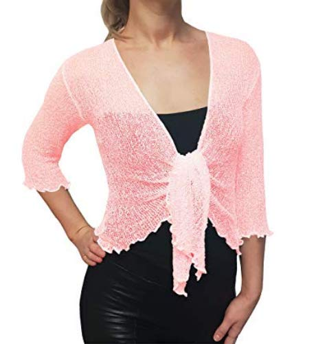 LADIES PLAIN KNITTED CROPPED TIE UP BOLERO SHRUG TOP - MASSIVE RANGE OF COLOURS FIT ALL SIZES (Light Pink) from Taboo fashion clothing