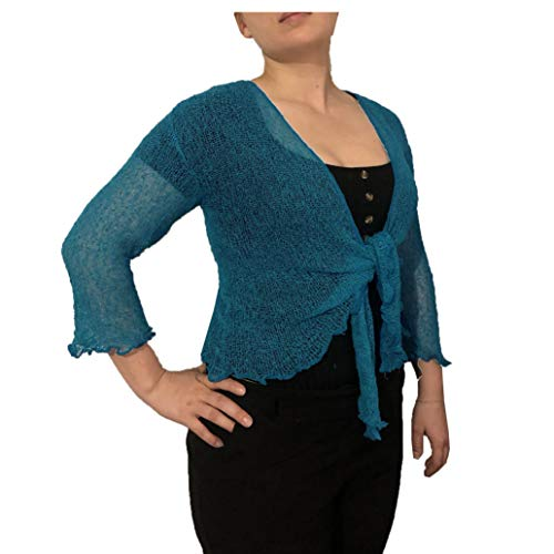 LADIES PLAIN KNITTED CROPPED TIE UP BOLERO SHRUG TOP - MASSIVE RANGE OF COLOURS FIT ALL SIZES (Petrol Green) from Taboo fashion clothing