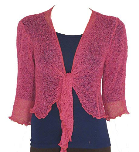 LADIES PLAIN KNITTED CROPPED TIE UP BOLERO SHRUG TOP - MASSIVE RANGE OF COLOURS FIT ALL SIZES (Raspberry) from Taboo fashion clothing
