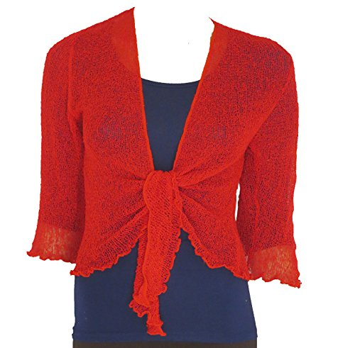 LADIES PLAIN KNITTED CROPPED TIE UP BOLERO SHRUG TOP - MASSIVE RANGE OF COLOURS FIT ALL SIZES (Red) from Taboo fashion clothing