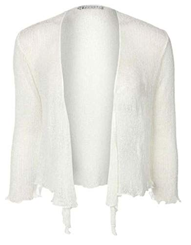 LADIES PLAIN KNITTED CROPPED TIE UP BOLERO SHRUG TOP - MASSIVE RANGE OF COLOURS FIT ALL SIZES (White) from Taboo fashion clothing