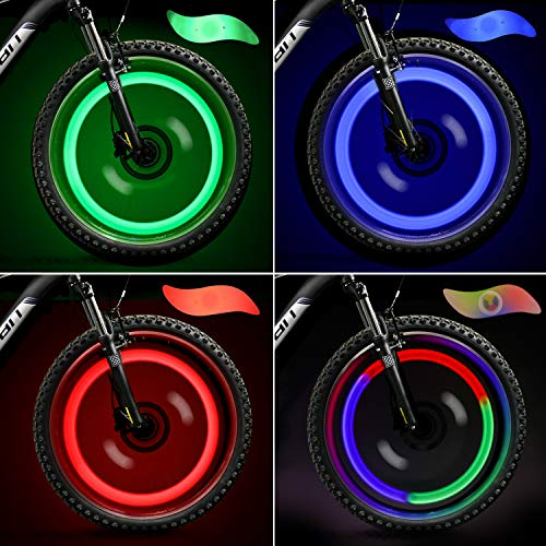 TAGVO 4pcs Bike Spoke Light (Red + Green + Blue + Multicolour), Easy Installing Wheel Spoke Lights for Both Adults Kids Bike, Water Resistant LED Neon Tire Flash Lamp with 3 Flashing Models from TAGVO