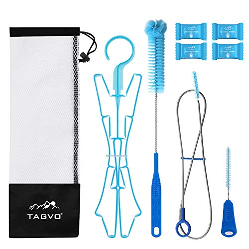 Tagvo Hydration Bladder Cleaning Kit for Universal Water Reservoir, 4 in 1 Cleaner Set--Flexible Long Brush for Hose, Small Brush for Bite Valve, Big Brush for Bladder & Collapsible Hanger for Bladder Drying from Tagvo