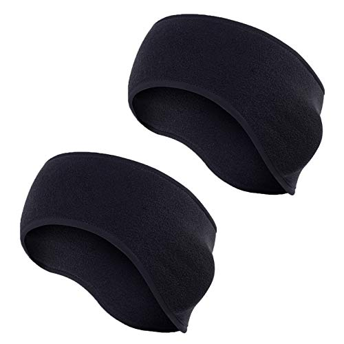 Tagvo Winter Headband Ear Warmer Lightweight, Made of Warm Cozy Fleece Material with Full Cover Ear Muffs, Stretch to Size Non-Bulky Snug Fit for Adults Men Women for Sport & Casual Wear ( Black ) from Tagvo