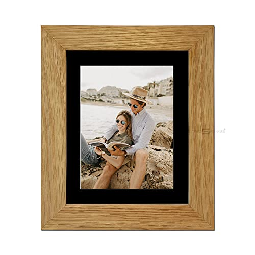 "Tailored Frames|99|Real Solid Natural Oak Wooden Picture Frame with Black Mount, Frame 10"" x 8"" for 8"" x 6"" Picture to Stand UK from Tailored Frames"