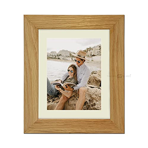 "Tailored Frames|99|Real Solid Natural Oak Wooden Picture Frame with Antique Mount, Frame 14"" x 11"" for 24 x 30 cm Picture to Wall Hang UK from Tailored Frames"
