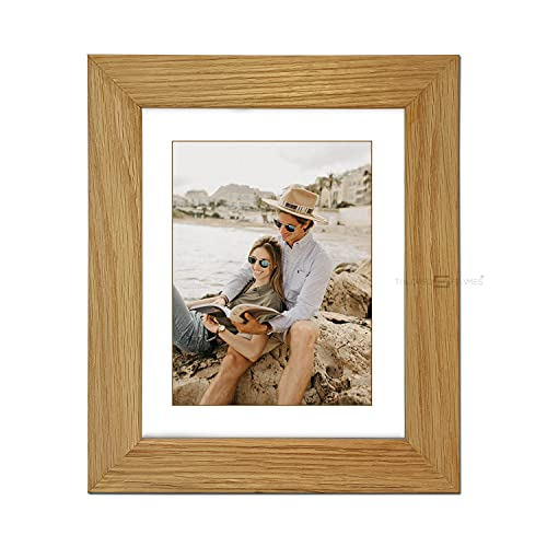 "Tailored Frames|99|Real Solid Natural Oak Wooden Picture Frame with White Mount, Frame 14"" x 12"" for 12"" x 10"" Picture to Wall Hang UK from Tailored Frames"