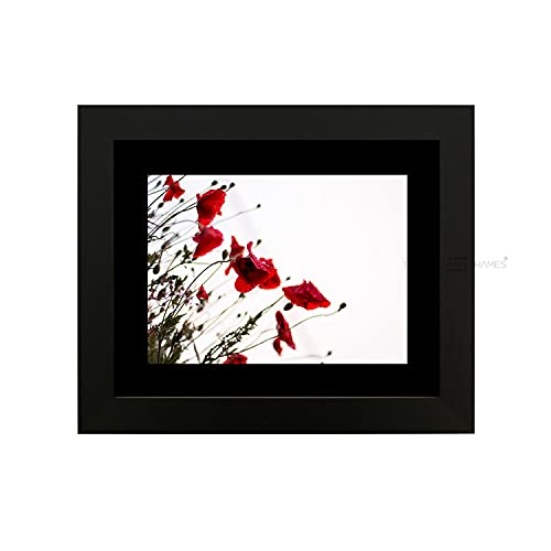 "Tailored Frames-BLACK SQUARE DESIGN PICTURE FRAME size 14""x11"" for9 x6 with Black Mount, to stand or Hang. from Tailored Frames"