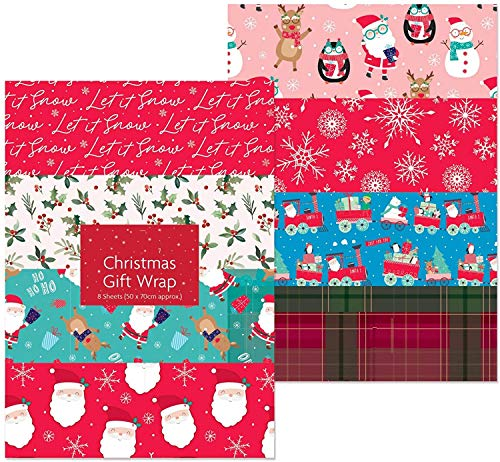 10 x Large Sheets of Christmas Gift Wrap - 50cm x 70 cm - 10 designs - 1485 from Atlona