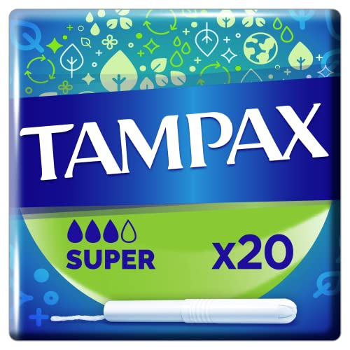 Tampax Super Tampons with Cardboard Applicator Leak Protection, Pack of 20 from Tampax