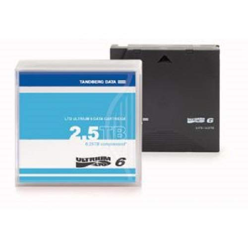 Tandberg LTO-6 2.5/6.25 TB Labelled Overland Storage Cartridges - Black (Pack of 5) from TANDBERG DATA