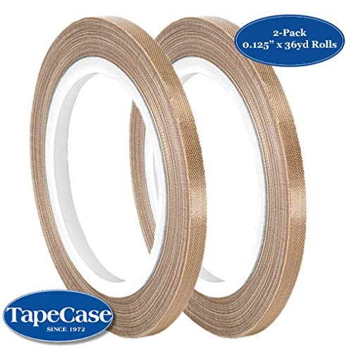 "TapeCase 0.125-36-134-10 (PK2) Tan Abrasion Resistant Fiberglass Tape Coated with PTFE 134-10, 36 yd Length, 0.125"" Width (Pack of 2) from TapeCase"